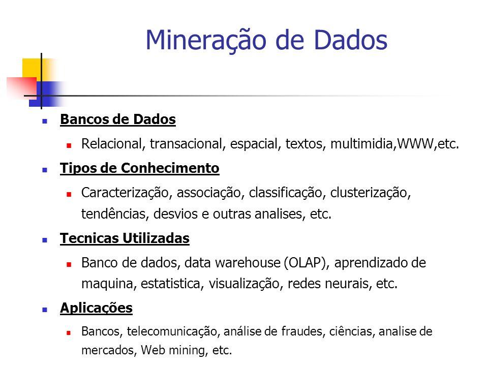 Mineração de Dados Bancos de Dados Relacional, transacional, espacial, textos, multimidia,WWW,etc. Tipos de Conhecimento Caracterização, associação, c