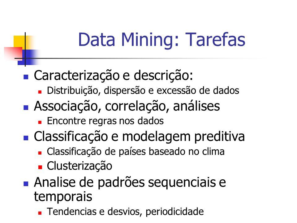 Data Mining: Tarefas Caracterização e descrição: Distribuição, dispersão e excessão de dados Associação, correlação, análises Encontre regras nos dado