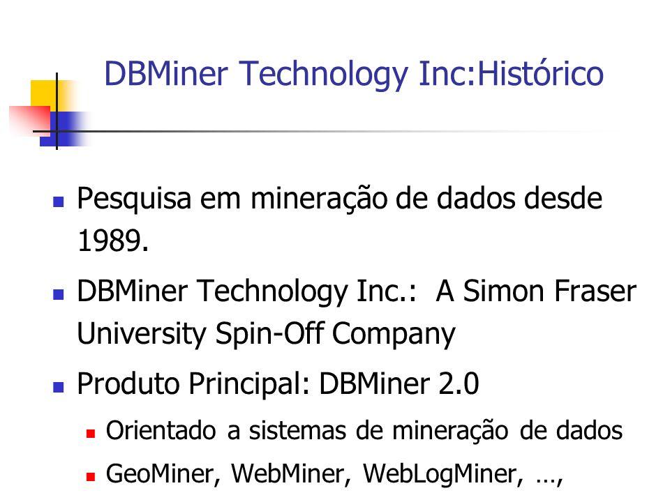 DBMiner Technology Inc:Histórico Pesquisa em mineração de dados desde 1989. DBMiner Technology Inc.: A Simon Fraser University Spin-Off Company Produt