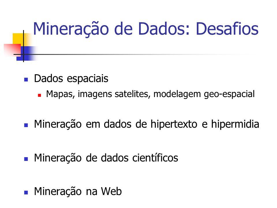 Mineração de Dados: Desafios Dados espaciais Mapas, imagens satelites, modelagem geo-espacial Mineração em dados de hipertexto e hipermidia Mineração