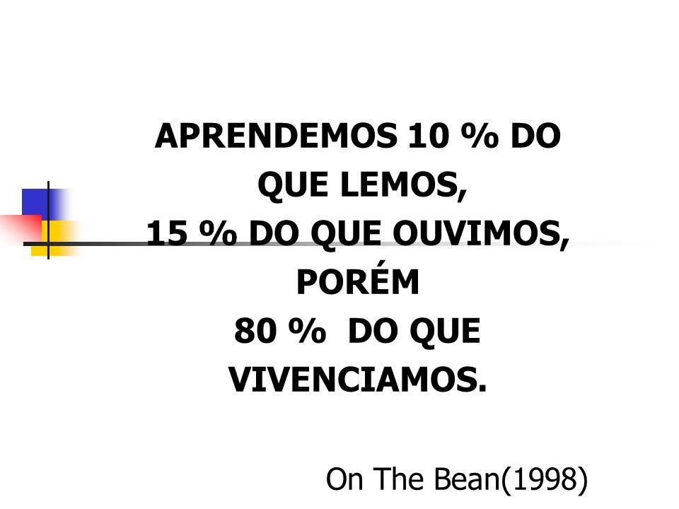 APRENDEMOS 10 % DO QUE LEMOS, 15 % DO QUE OUVIMOS, PORÉM 80 % DO QUE VIVENCIAMOS. On The Bean(1998)