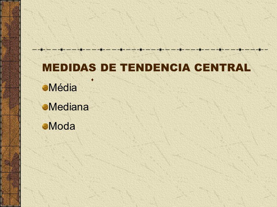 MEDIDAS DE TENDENCIA CENTRAL Média Mediana Moda