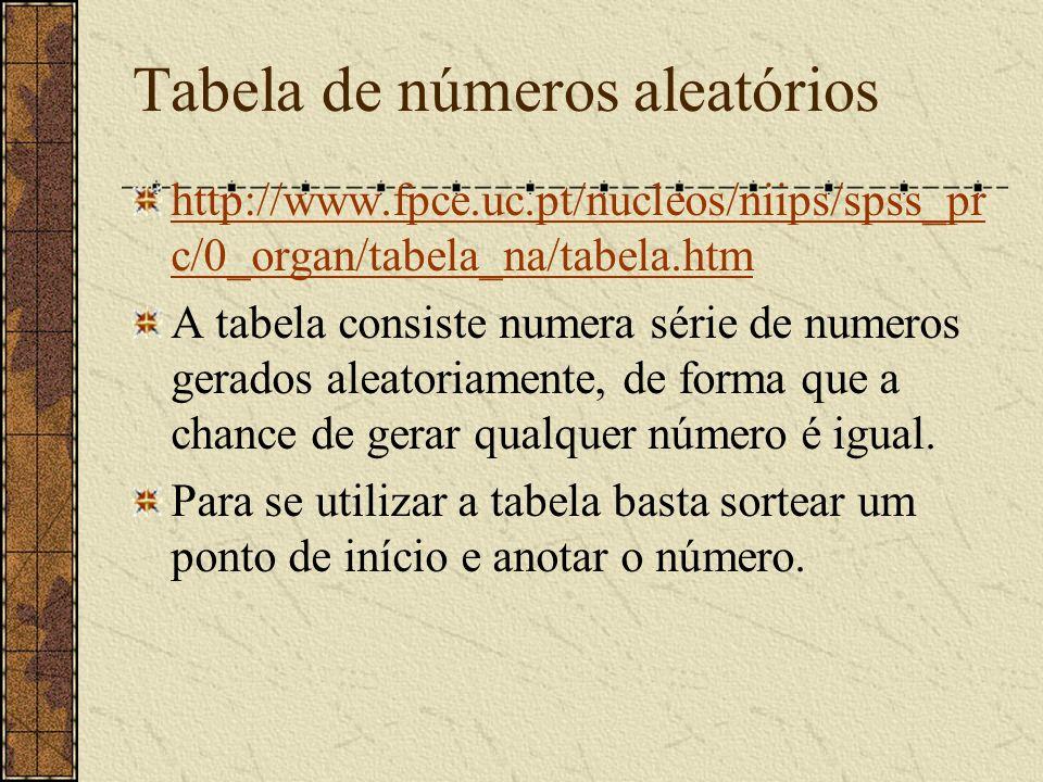 Tabela de números aleatórios http://www.fpce.uc.pt/nucleos/niips/spss_pr c/0_organ/tabela_na/tabela.htm A tabela consiste numera série de numeros gera