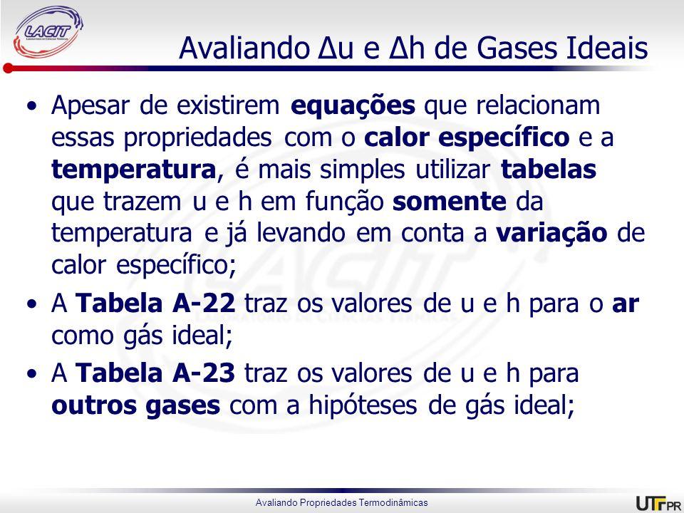 Avaliando Propriedades Termodinâmicas Avaliando Δu e Δh de Gases Ideais Apesar de existirem equações que relacionam essas propriedades com o calor esp