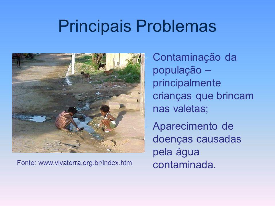 Principais Problemas Contaminação da população – principalmente crianças que brincam nas valetas; Aparecimento de doenças causadas pela água contamina