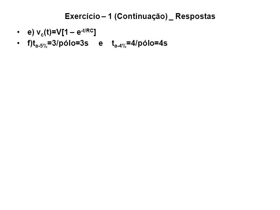Exercício – 1 (Continuação) _ Respostas e) v c (t)=V[1 – e -t/RC ] f)t a-5% =3/pólo=3s e t a-4% =4/pólo=4s