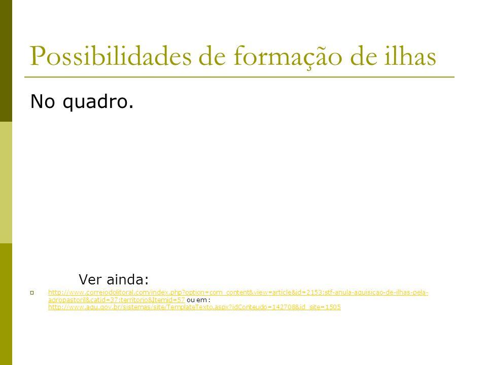 Possibilidades de formação de ilhas No quadro. Ver ainda: http://www.correiodolitoral.com/index.php?option=com_content&view=article&id=2153:stf-anula-