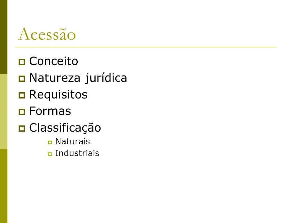 Conceito / Natureza jurídica/ Requisitos Conceito – Washington de Barros Monteiro (acréscimo exterior, acréscimos com aderência): Natureza Jurídica: Seria: Ampliação da Propriedade.