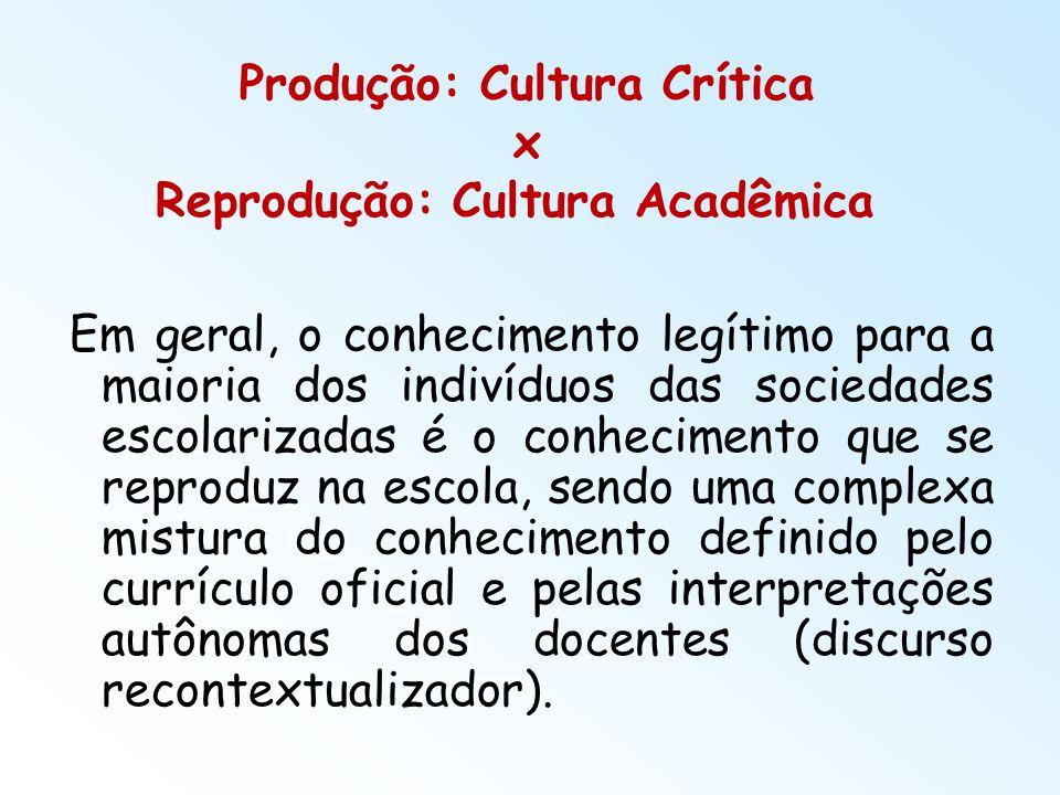 Produção: Cultura Crítica x Reprodução: Cultura Acadêmica Em geral, o conhecimento legítimo para a maioria dos indivíduos das sociedades escolarizadas