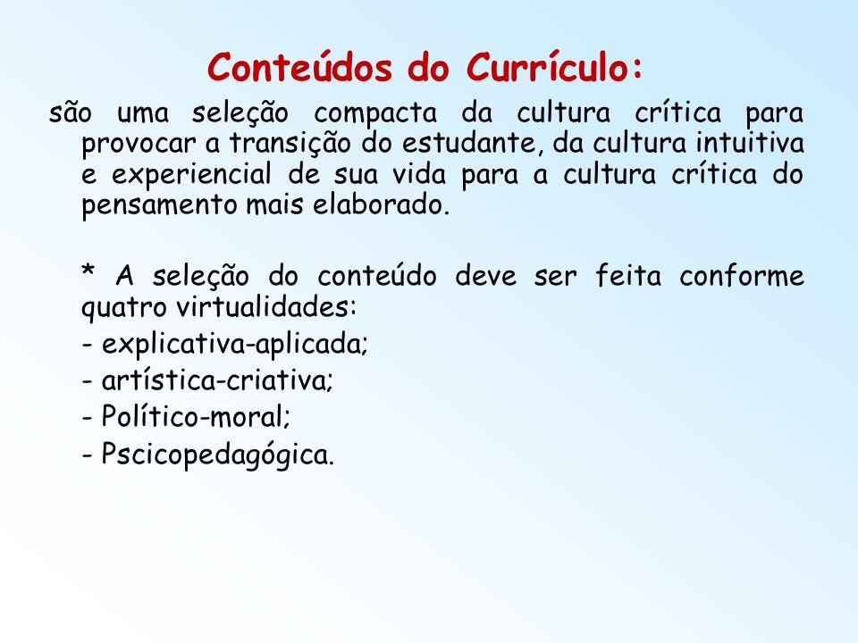 Conteúdos do Currículo: são uma seleção compacta da cultura crítica para provocar a transição do estudante, da cultura intuitiva e experiencial de sua