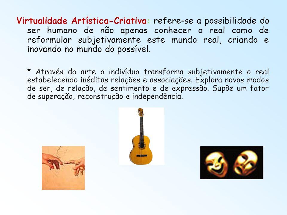 Virtualidade Artística-Criativa: refere-se a possibilidade do ser humano de não apenas conhecer o real como de reformular subjetivamente este mundo re
