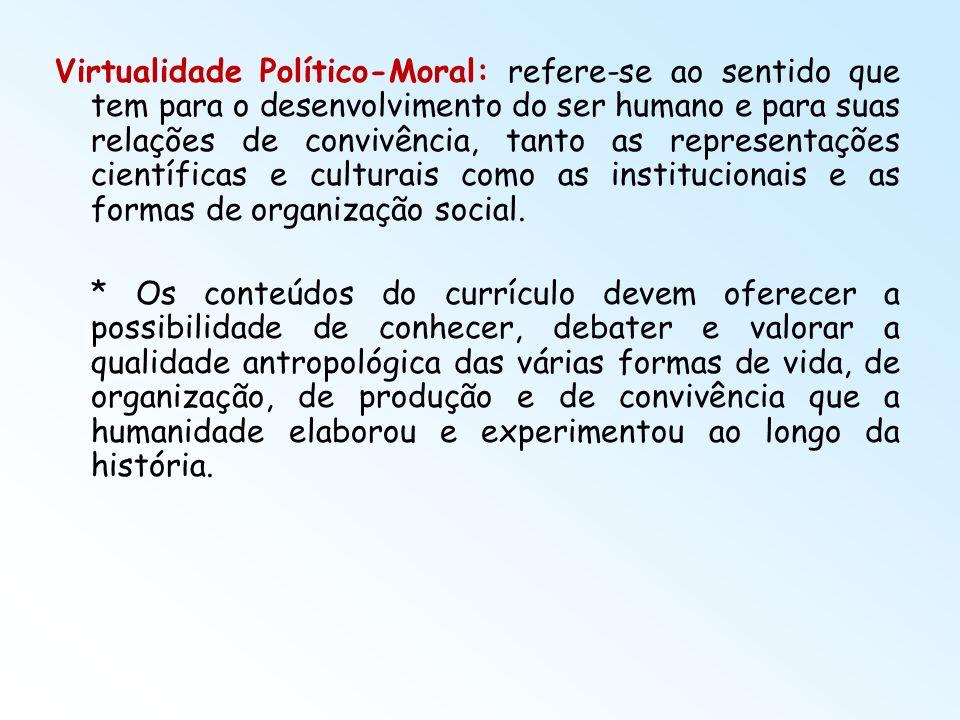 Virtualidade Político-Moral: refere-se ao sentido que tem para o desenvolvimento do ser humano e para suas relações de convivência, tanto as represent