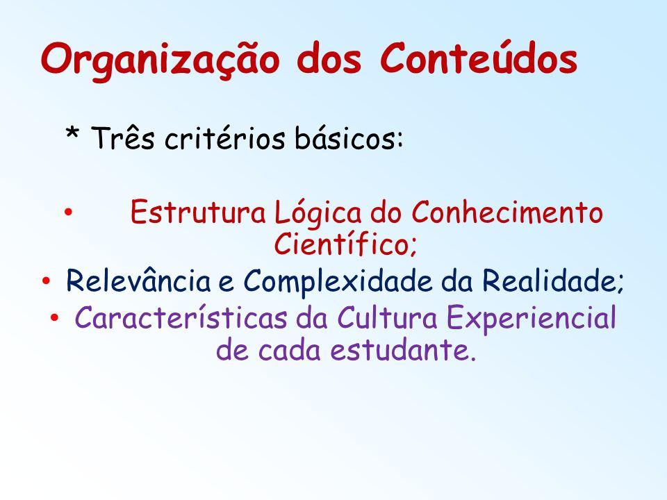 Organização dos Conteúdos * Três critérios básicos: Estrutura Lógica do Conhecimento Científico; Relevância e Complexidade da Realidade; Característic