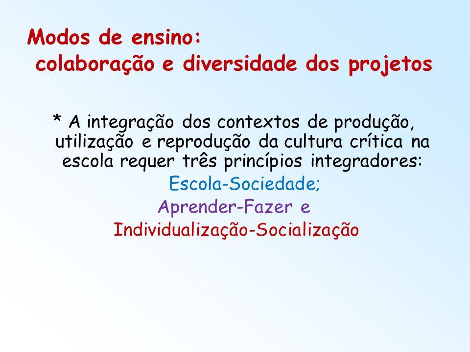 Modos de ensino: colaboração e diversidade dos projetos * A integração dos contextos de produção, utilização e reprodução da cultura crítica na escola