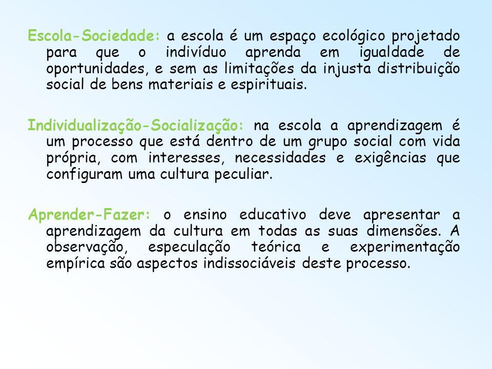 Escola-Sociedade: a escola é um espaço ecológico projetado para que o indivíduo aprenda em igualdade de oportunidades, e sem as limitações da injusta