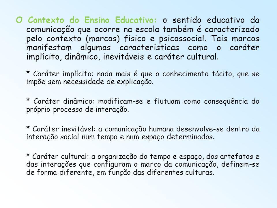 O Contexto do Ensino Educativo: o sentido educativo da comunicação que ocorre na escola também é caracterizado pelo contexto (marcos) físico e psicoss