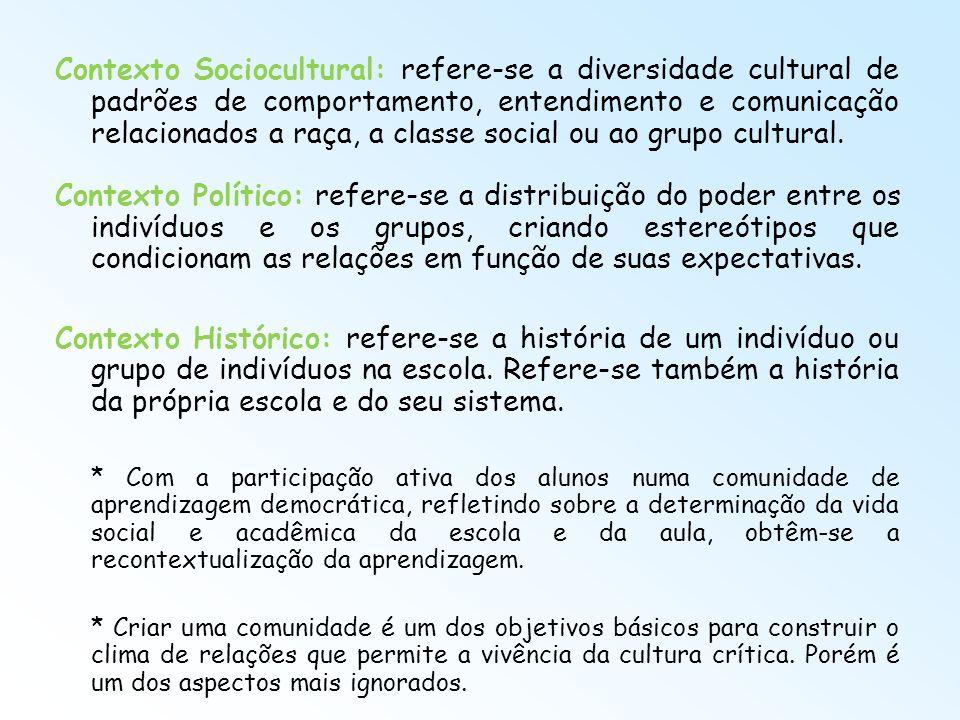 Contexto Sociocultural: refere-se a diversidade cultural de padrões de comportamento, entendimento e comunicação relacionados a raça, a classe social