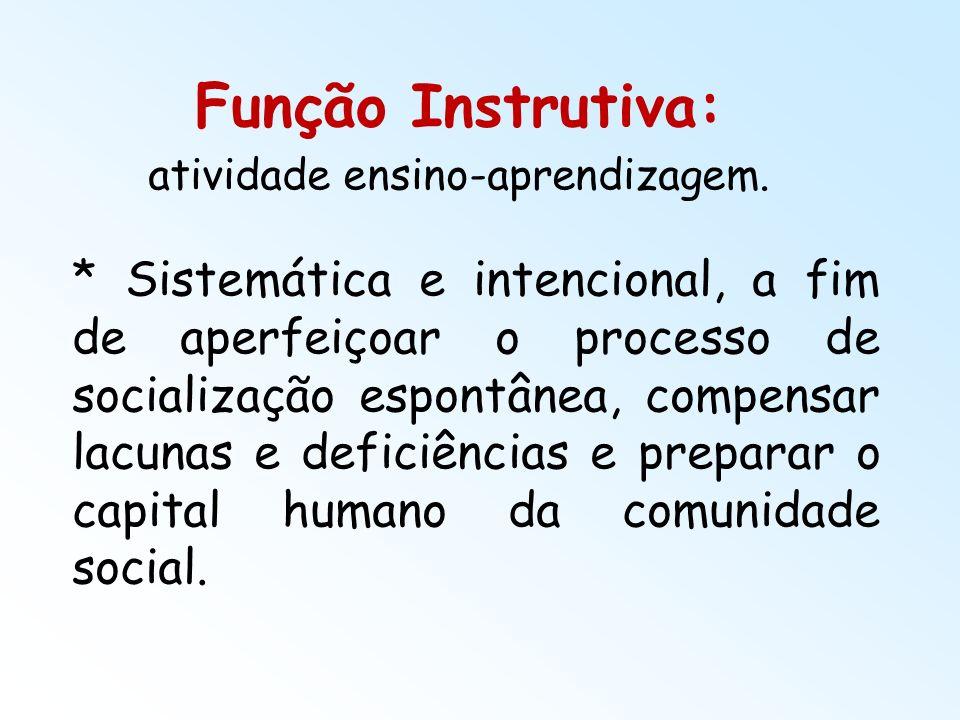 Função Instrutiva: atividade ensino-aprendizagem. * Sistemática e intencional, a fim de aperfeiçoar o processo de socialização espontânea, compensar l