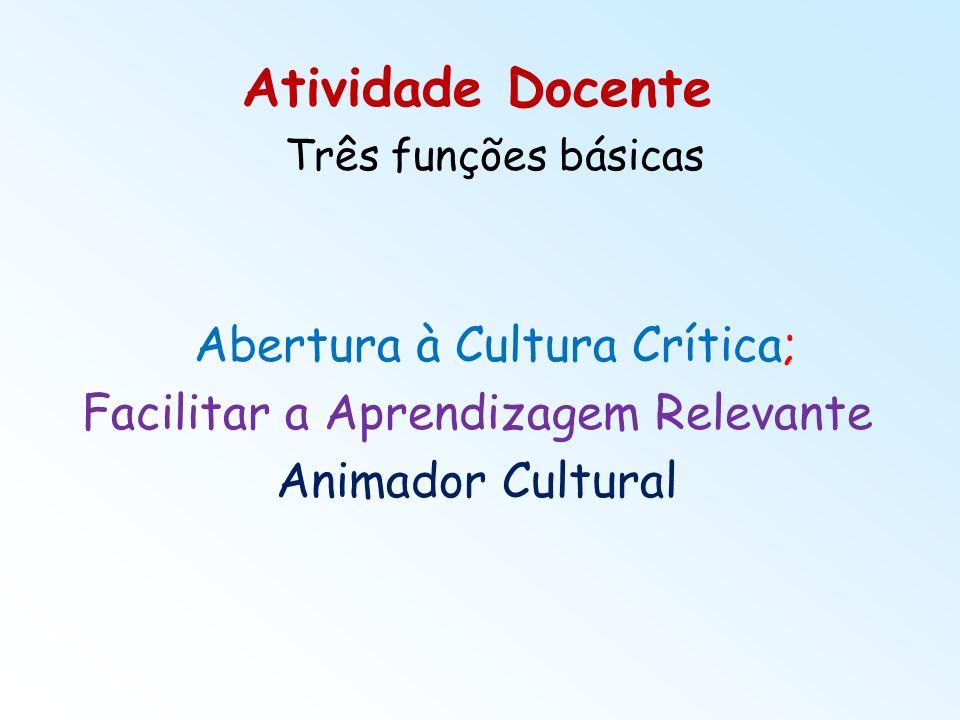 Atividade Docente Três funções básicas Abertura à Cultura Crítica; Facilitar a Aprendizagem Relevante Animador Cultural