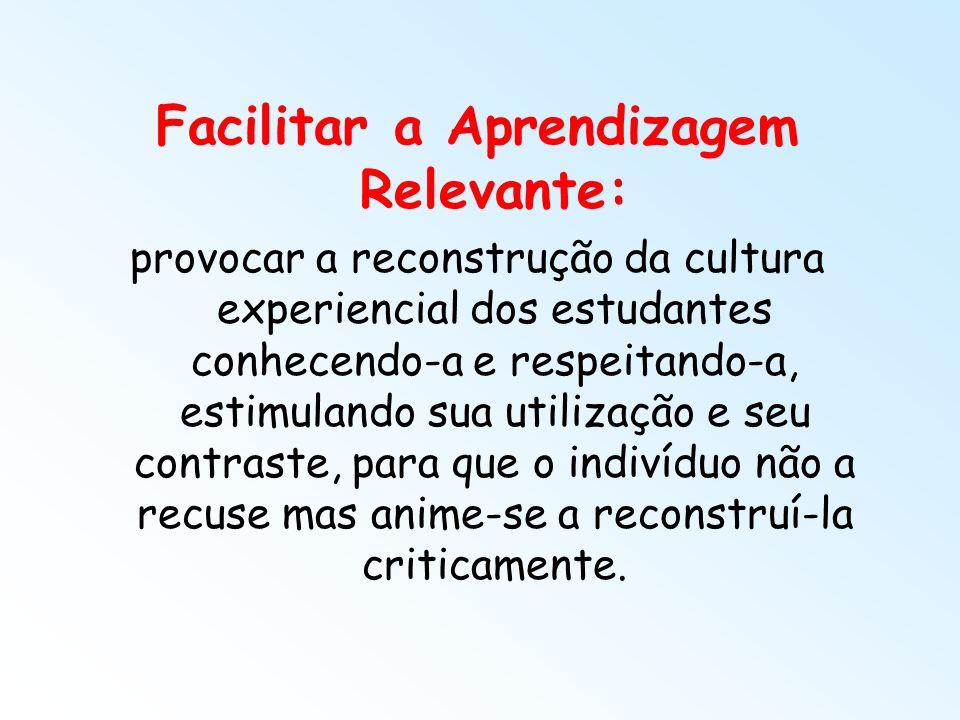 Facilitar a Aprendizagem Relevante: provocar a reconstrução da cultura experiencial dos estudantes conhecendo-a e respeitando-a, estimulando sua utili