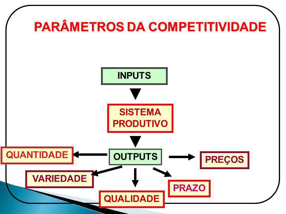 INPUTS SISTEMA PRODUTIVO OUTPUTS QUANTIDADE VARIEDADE QUALIDADE PRAZO PREÇOS PARÂMETROS DA COMPETITIVIDADE