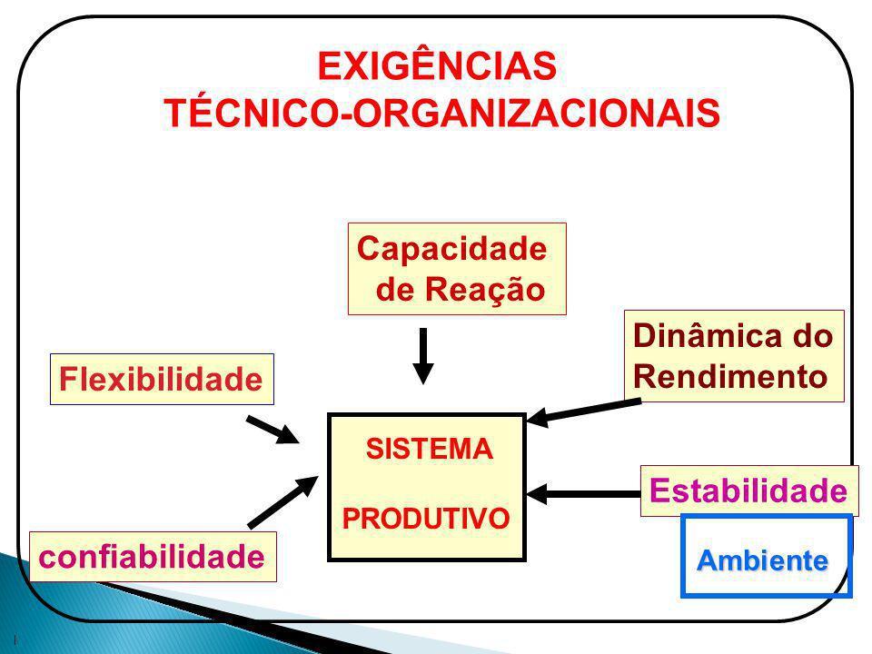 Capacidade de Reação Dinâmica do Rendimento Estabilidade Flexibilidade confiabilidade SISTEMA PRODUTIVO Ambiente EXIGÊNCIAS TÉCNICO-ORGANIZACIONAIS