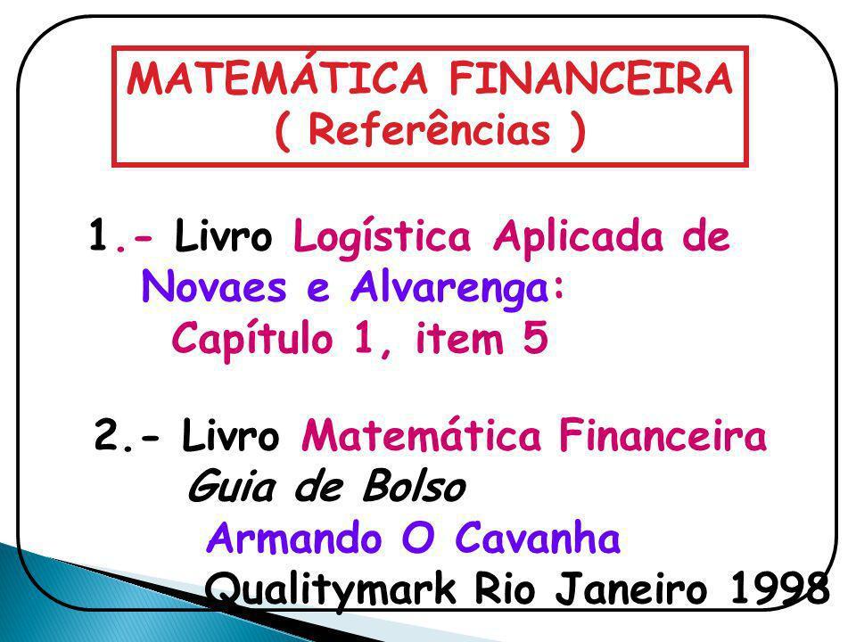 MATEMÁTICA FINANCEIRA ( Referências ) 1.- Livro Logística Aplicada de Novaes e Alvarenga: Capítulo 1, item 5 2.- Livro Matemática Financeira Guia de B