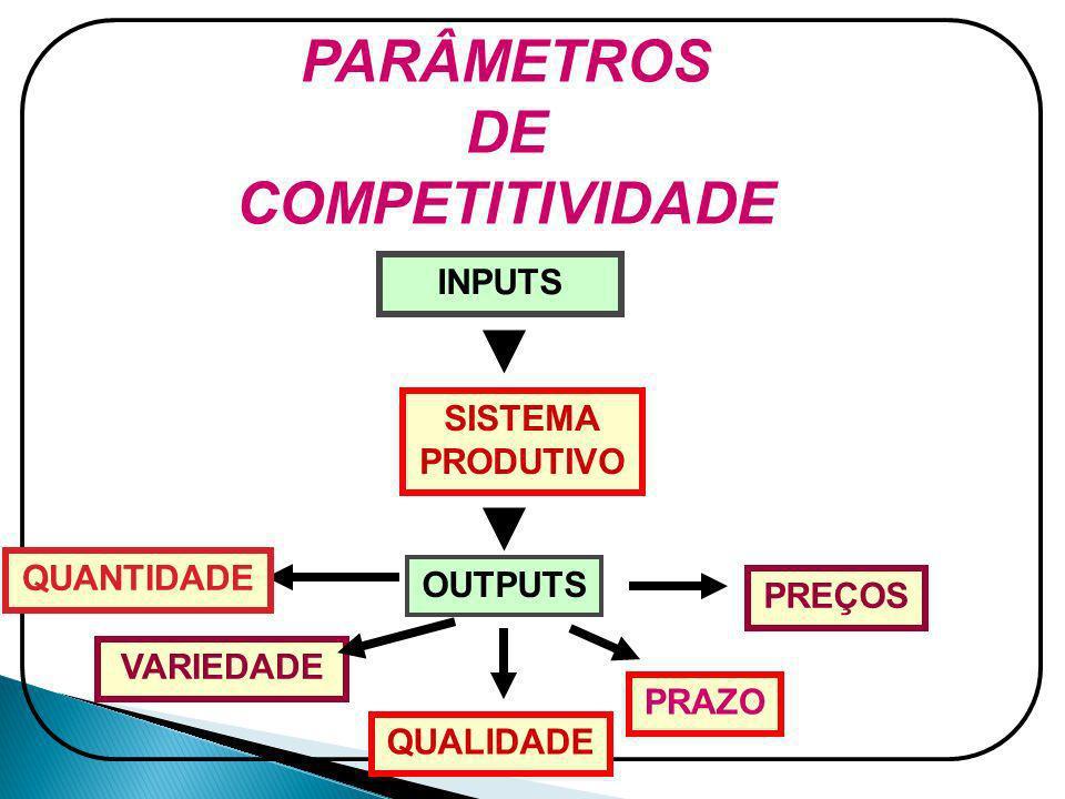 PARÂMETROS DE COMPETITIVIDADE INPUTS SISTEMA PRODUTIVO OUTPUTS QUANTIDADE VARIEDADE QUALIDADE PRAZO PREÇOS