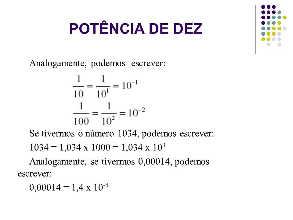 POTÊNCIA DE DEZ Analogamente, podemos escrever: Se tivermos o número 1034, podemos escrever: 1034 = 1,034 x 1000 = 1,034 x 10 3 Analogamente, se tiver