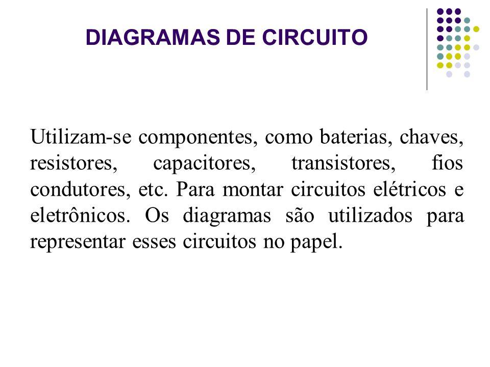 DIAGRAMAS DE CIRCUITO Utilizam-se componentes, como baterias, chaves, resistores, capacitores, transistores, fios condutores, etc. Para montar circuit