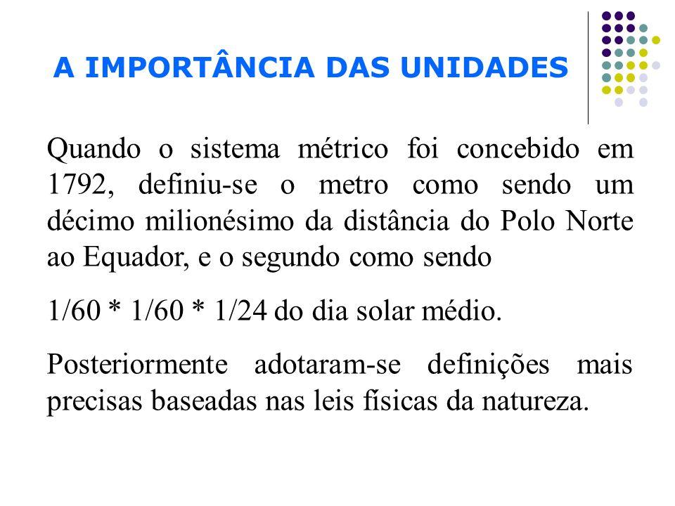 A IMPORTÂNCIA DAS UNIDADES Agora define-se o metro como a distância percorrida pela luz no vácuo, durante 1/299.792.458 de segundo, e a unidade segundos, em termos do período do relógio atômico do césio.