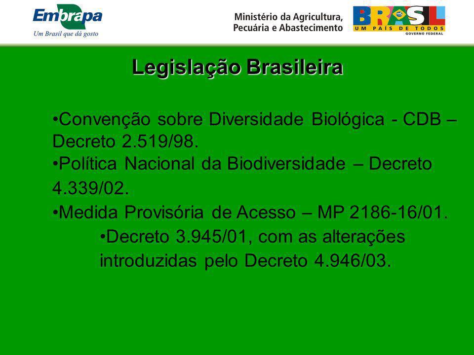 Legislação Brasileira Convenção sobre Diversidade Biológica - CDB – Decreto 2.519/98. Política Nacional da Biodiversidade – Decreto 4.339/02. Medida P