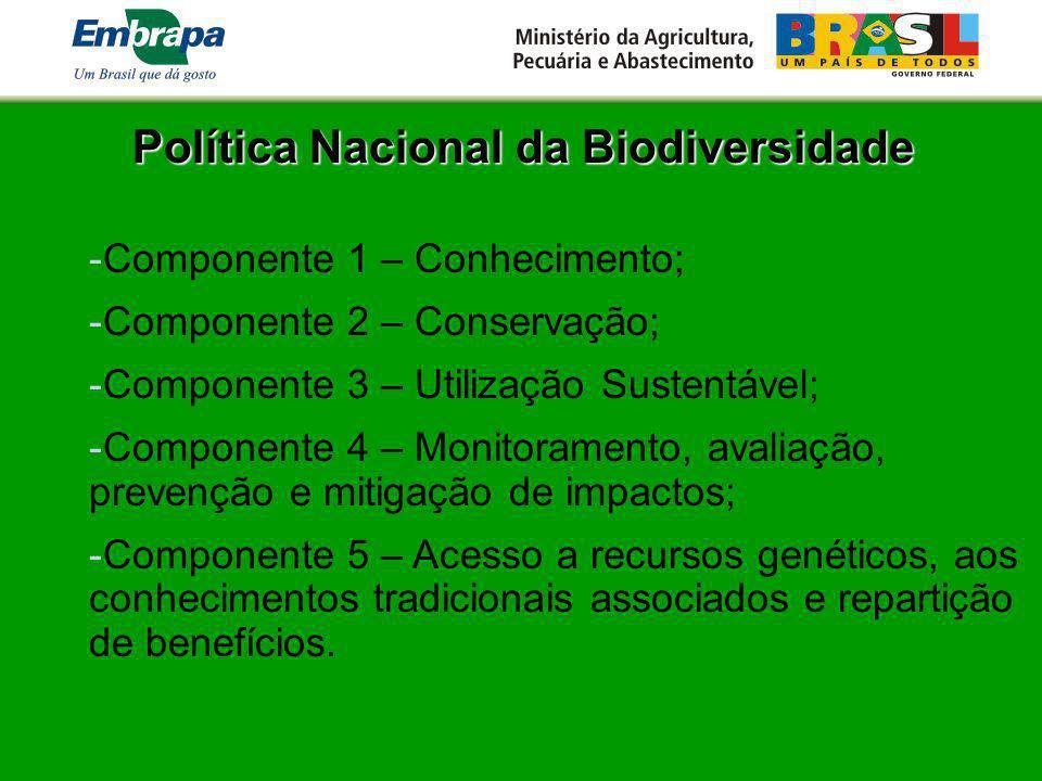 Política Nacional da Biodiversidade -Componente 1 – Conhecimento; -Componente 2 – Conservação; -Componente 3 – Utilização Sustentável; -Componente 4 –