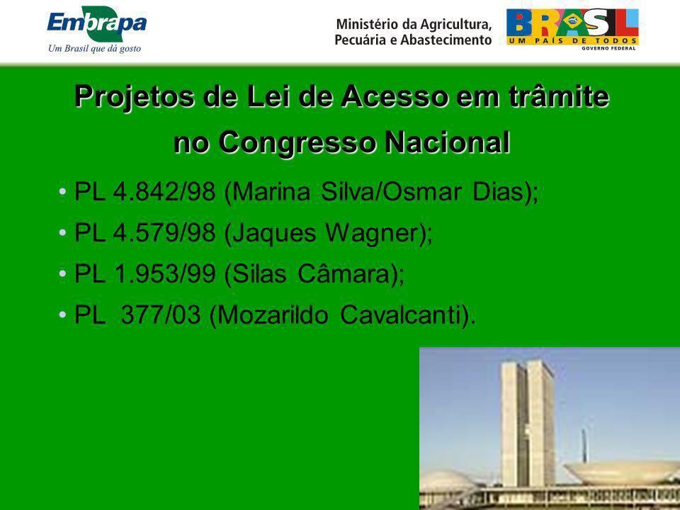 Projetos de Lei de Acesso em trâmite no Congresso Nacional PL 4.842/98 (Marina Silva/Osmar Dias); PL 4.579/98 (Jaques Wagner); PL 1.953/99 (Silas Câma