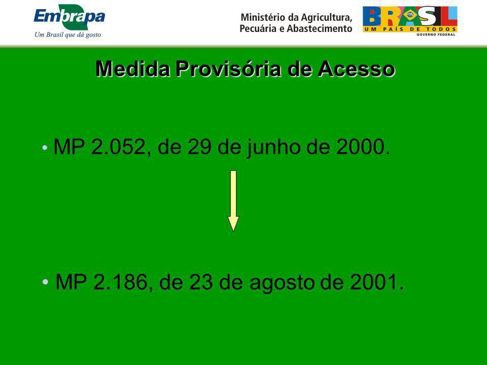 Medida Provisória de Acesso MP 2.052, de 29 de junho de 2000. MP 2.186, de 23 de agosto de 2001.