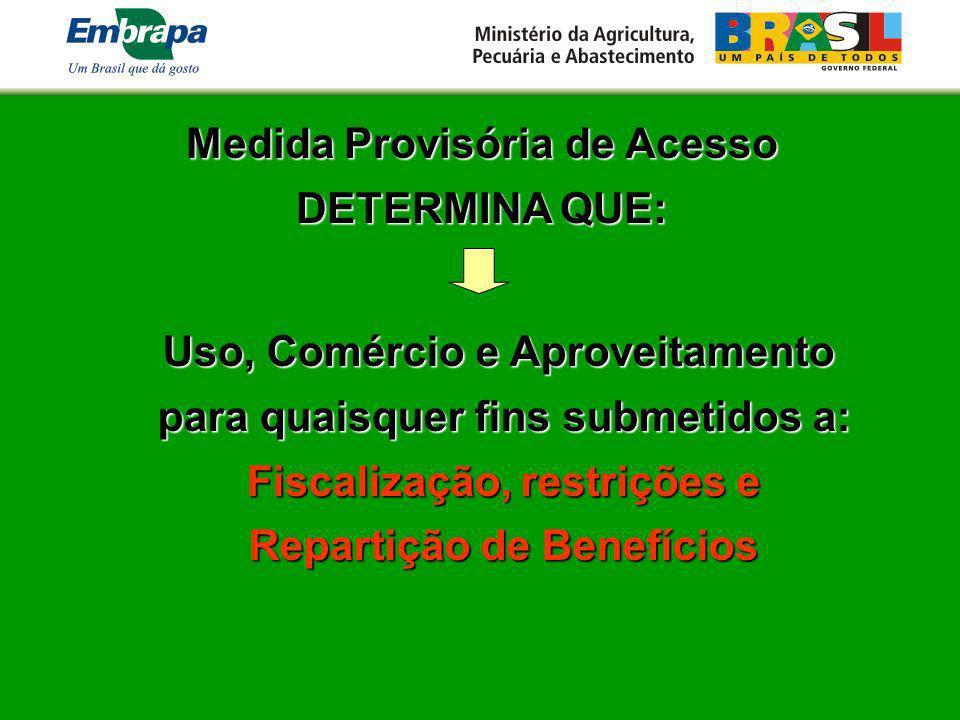Medida Provisória de Acesso DETERMINA QUE: Uso, Comércio e Aproveitamento para quaisquer fins submetidos a: Fiscalização, restrições e Repartição de B