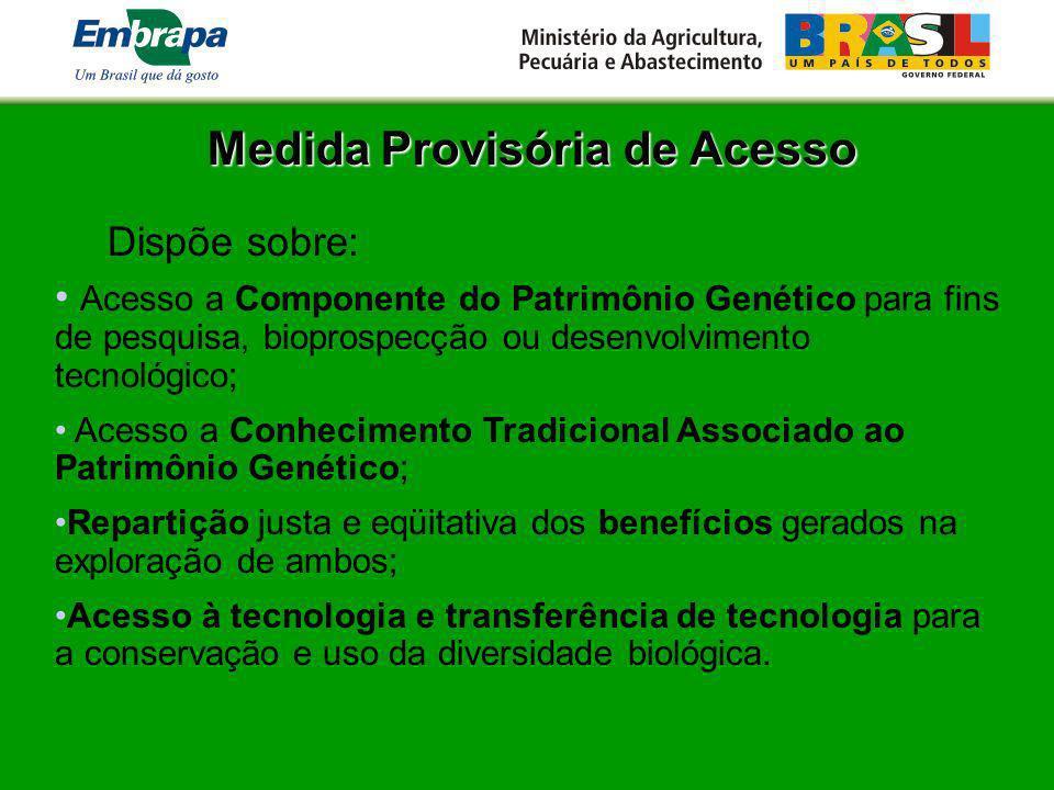 Medida Provisória de Acesso Dispõe sobre: Acesso a Componente do Patrimônio Genético para fins de pesquisa, bioprospecção ou desenvolvimento tecnológi