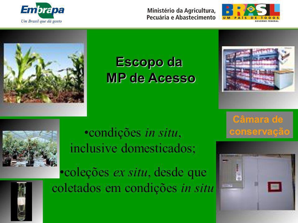 Escopo da MP de Acesso MP de Acesso condições in situ, inclusive domesticados; coleções ex situ, desde que coletados em condições in situ Câmara de co