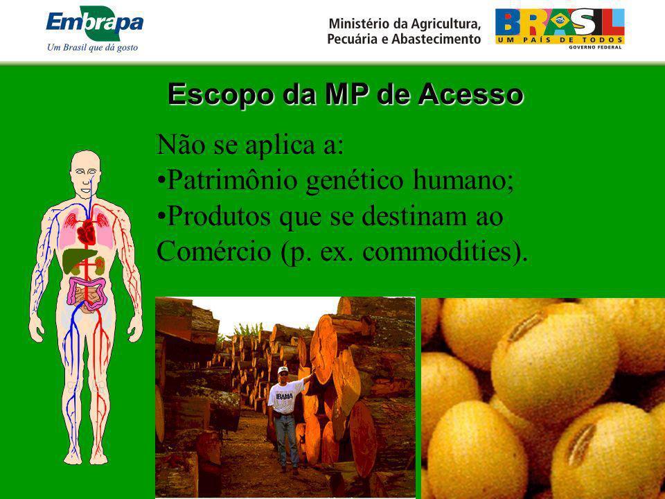 Escopo da MP de Acesso Não se aplica a: Patrimônio genético humano; Produtos que se destinam ao Comércio (p. ex. commodities).