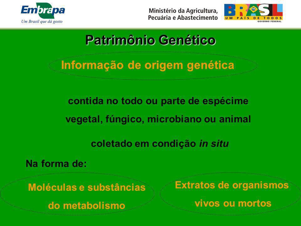 Patrimônio Genético Informação de origem genética contida no todo ou parte de espécime vegetal, fúngico, microbiano ou animal Na forma de: coletado em