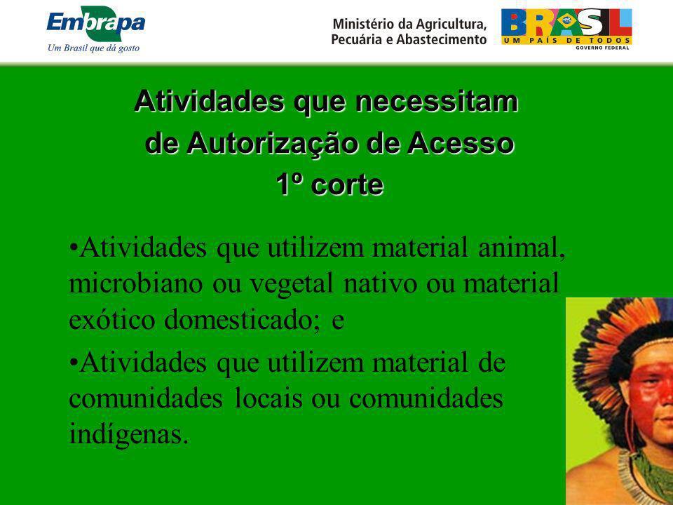 Atividades que necessitam de Autorização de Acesso 1º corte Atividades que utilizem material animal, microbiano ou vegetal nativo ou material exótico