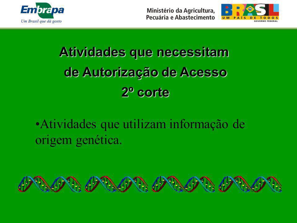 Atividades que necessitam de Autorização de Acesso 2º corte Atividades que utilizam informação de origem genética.