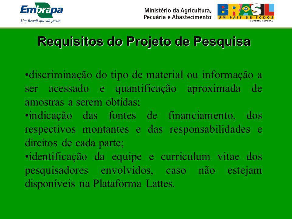 Requisitos do Projeto de Pesquisa discriminação do tipo de material ou informação a ser acessado e quantificação aproximada de amostras a serem obtida
