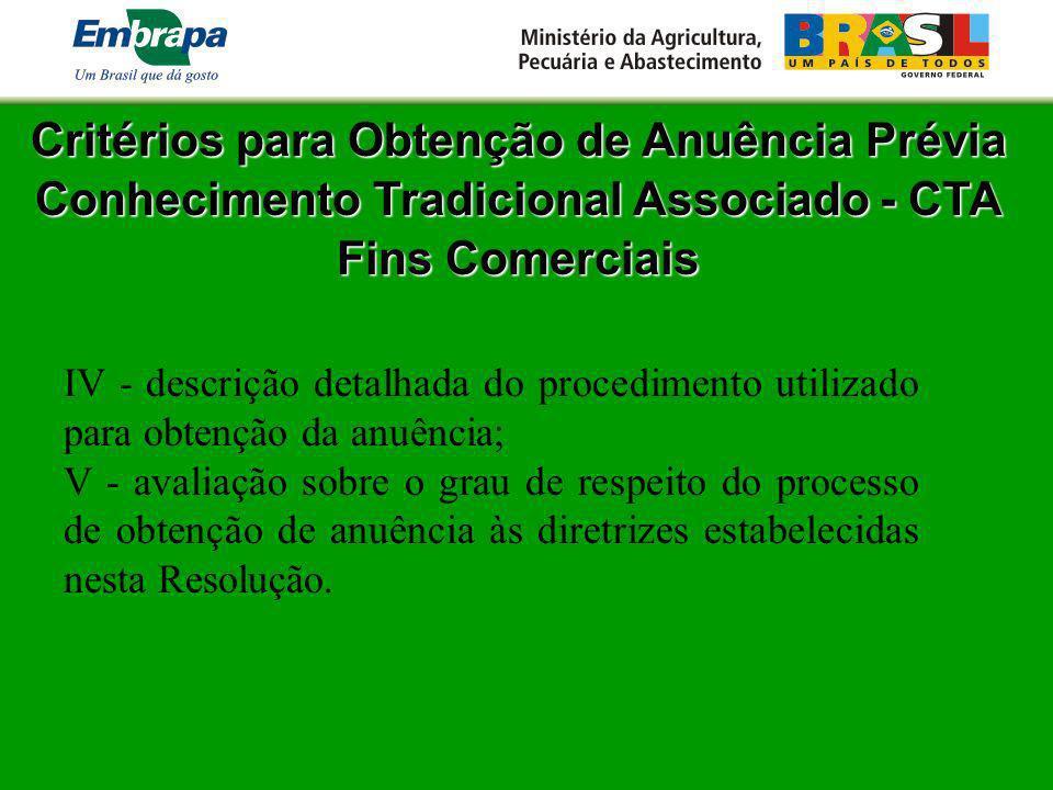 Critérios para Obtenção de Anuência Prévia Conhecimento Tradicional Associado - CTA Fins Comerciais IV - descrição detalhada do procedimento utilizado
