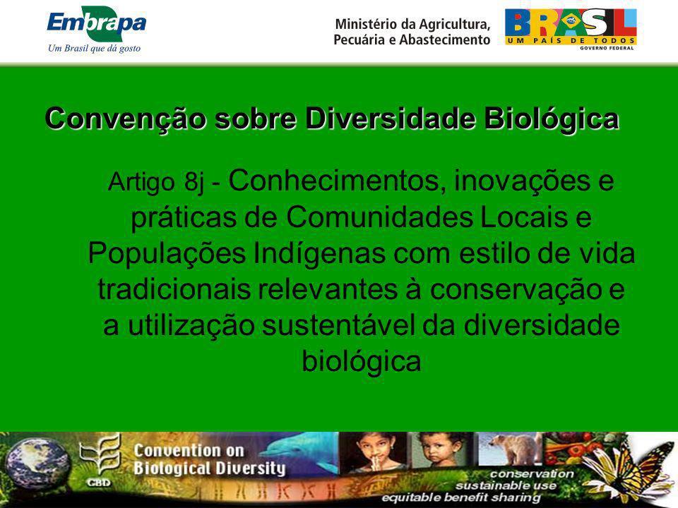 Convenção sobre Diversidade Biológica Artigo 8j - Conhecimentos, inovações e práticas de Comunidades Locais e Populações Indígenas com estilo de vida