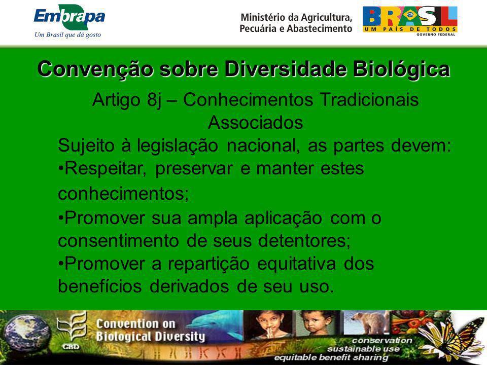 Convenção sobre Diversidade Biológica Artigo 8j – Conhecimentos Tradicionais Associados Sujeito à legislação nacional, as partes devem: Respeitar, pre