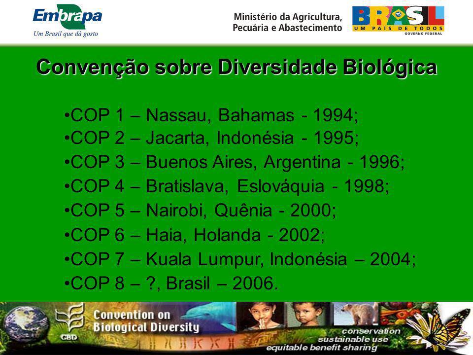 Convenção sobre Diversidade Biológica COP 1 – Nassau, Bahamas - 1994; COP 2 – Jacarta, Indonésia - 1995; COP 3 – Buenos Aires, Argentina - 1996; COP 4