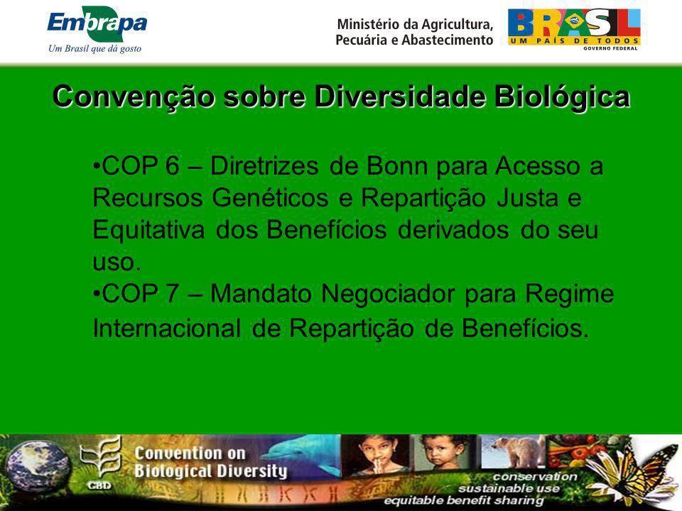 Legislação Brasileira Convenção sobre Diversidade Biológica - CDB – Decreto 2.519/98.