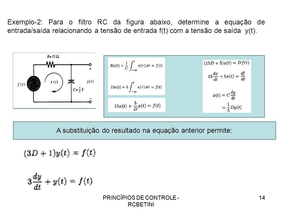 PRINCÍPIOS DE CONTROLE - RCBETINI 14 Exemplo-2: Para o filtro RC da figura abaixo, determine a equação de entrada/saída relacionando a tensão de entra