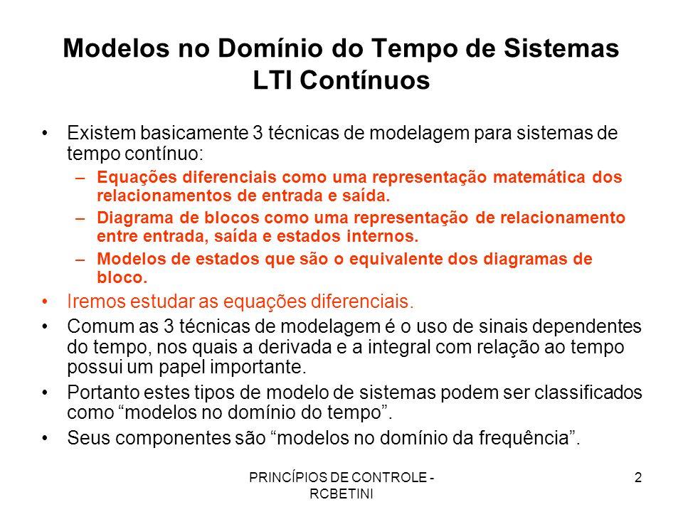 PRINCÍPIOS DE CONTROLE - RCBETINI 2 Modelos no Domínio do Tempo de Sistemas LTI Contínuos Existem basicamente 3 técnicas de modelagem para sistemas de
